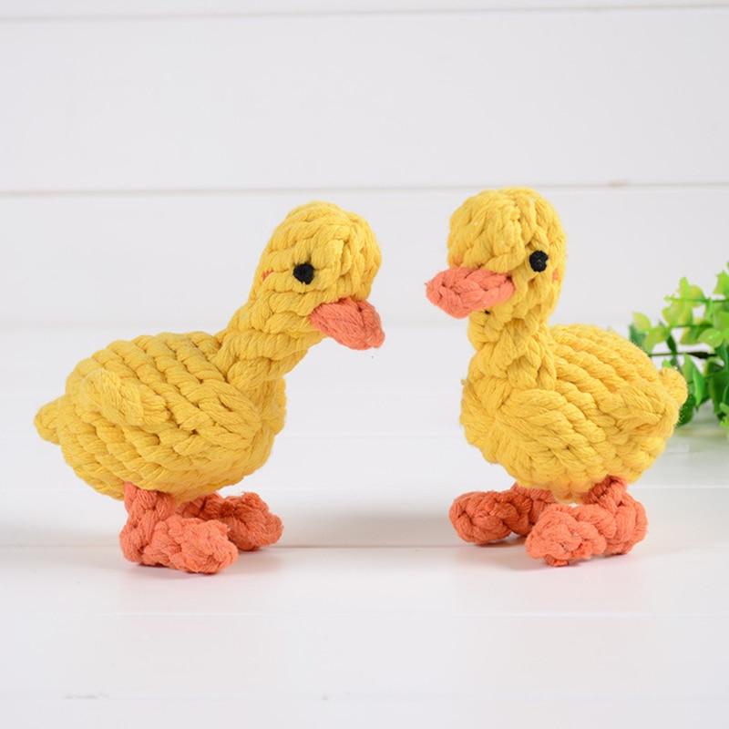 Juguete para mascotas, pequeño pato amarillo de cuerda de algodón tejido, juguete para perros resistente a mordeduras, Q120