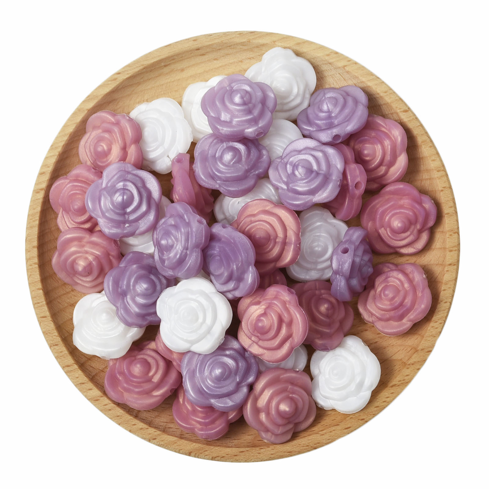 50 PCS 21 MM Mini Flower Silicone Beads For Baby Pacifier Pendant Accessories Food Grade Silicone Ba