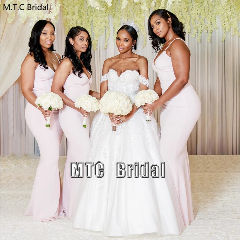 Wholesale African Bridesmaid Dresses Long Mermaid Maid Of Honor Wedding Party Dress Plus Size Black Women Formal Gowns Cheap