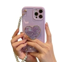 girls purple heart phone case with pearl lanyard for iphone 7 8 x xs 11 12 ins hot phone case for iphone 12 pro max case cover