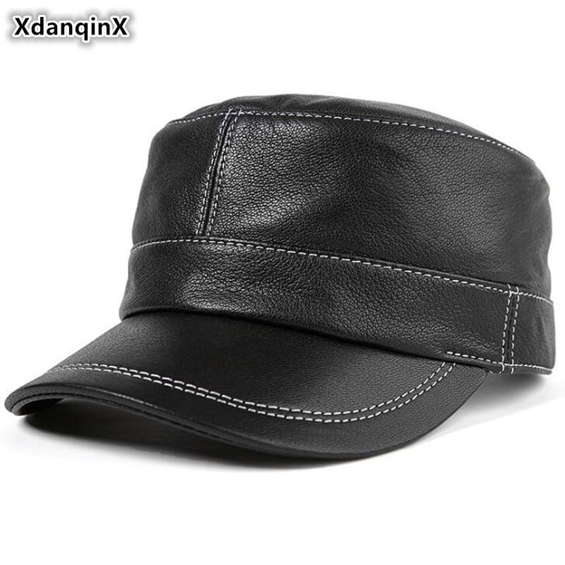 XdanqinX-قبعة مسطحة من الجلد الطبيعي للرجال ، قبعة عسكرية من جلد الغنم ، بسيطة ، عصرية ، منتصف العمر