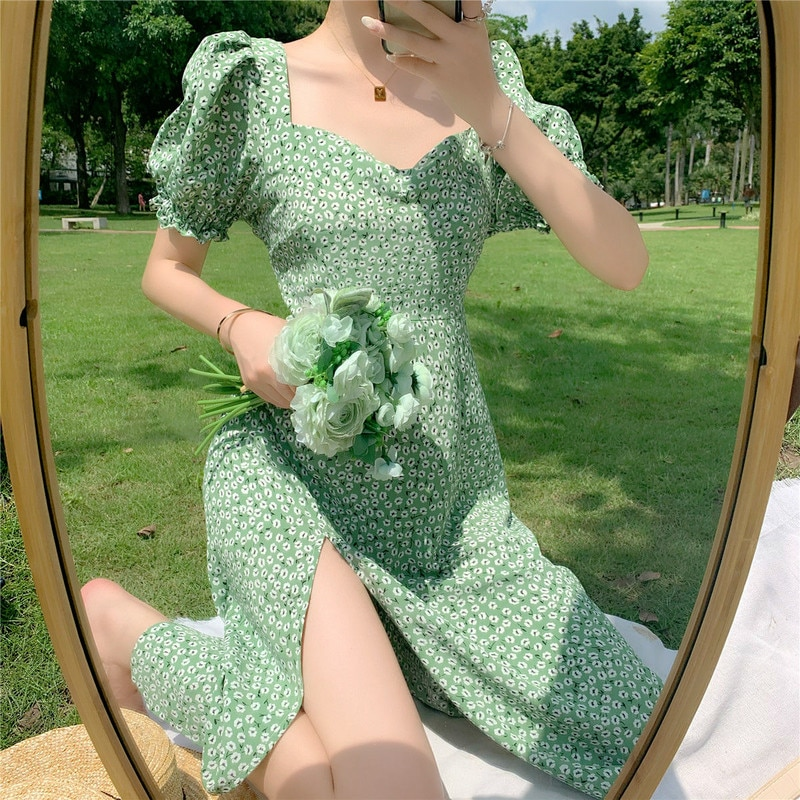 Summer Floral Dress Women New Arrival 2021 French Style Puff Sleeve Chiffon Split Fairy Sexy Elegant Korean Clothes