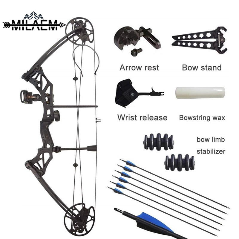 Archery Compound Bow Kit 30-70 lbs Adjustable IBO 320fps Outdoor Powerful Shooting Bow with 6 Carbon Arrows Hunting Accessories