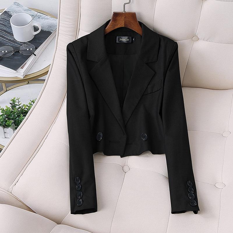 Top Quality New Fashion Autumn 2019 Designer Blazer Jacket Women's Double Breasted Short Slim Blazer Outer Plus size XL-5XL