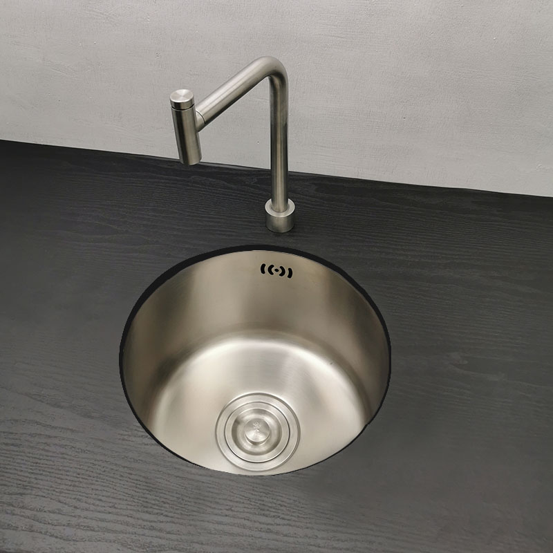 Kitchen basin round single bowl stainless steel kitchen sink cozinha chrome sink above counter or undermount vegatable basin 304 stainless steel rose gold kitchen sink undermount manual sink single sink with plate kitchen bowl set steel