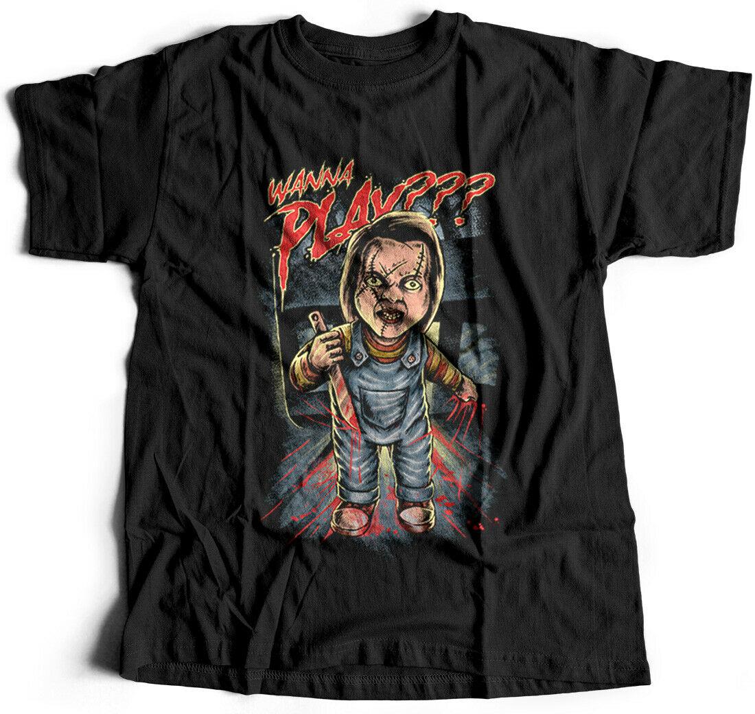 Wanna Play Horror camiseta amigos divertido broma cuchillo asesino sangre dibujos animados Mas P641
