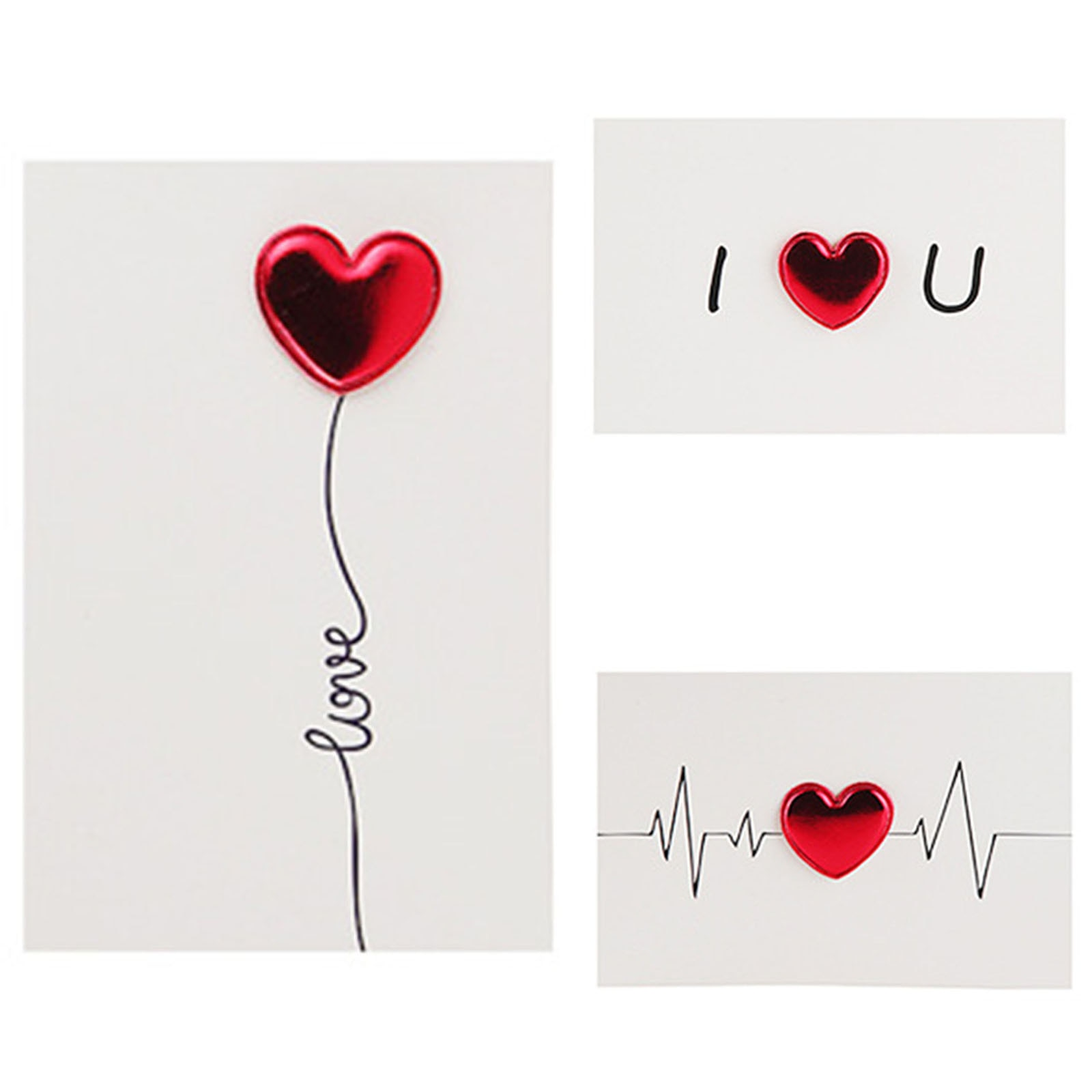 Красивые поздравительные открытки из искусственной кожи с 3D сердцем, белые поздравительные открытки, креативные открытки на заказ с благос...