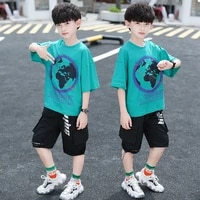 2021 new childrens summer boy fashion letter printing short sleeved t shirt casual pants kids two piece suit bt174