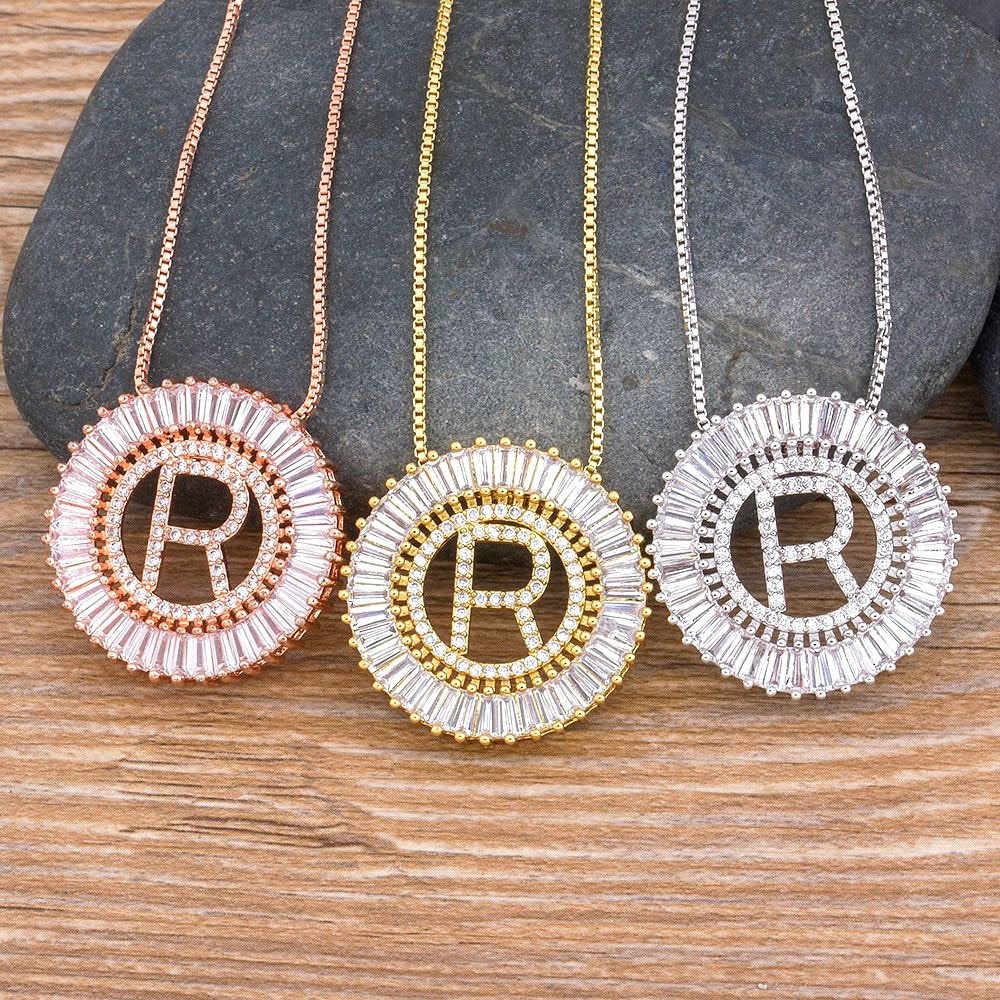 26PCS/Lot From A-Z 3 Colors Initial Letter Necklace Top Quality Copper CZ Pendant Name Necklaces Charm Family Jewelry Gift