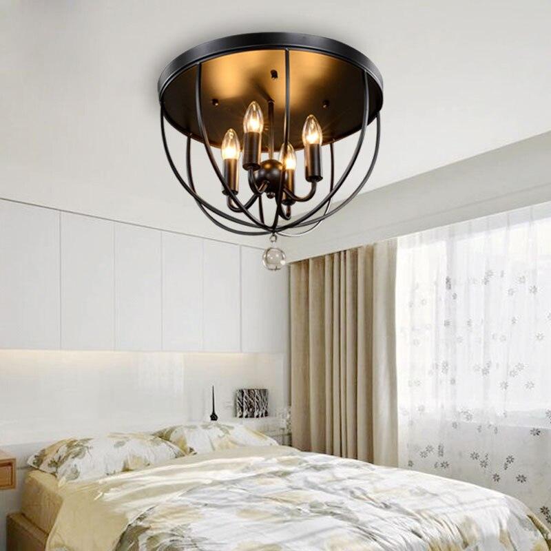 Lámpara de techo de cristal redondo de hierro para dormitorio, candelabro de...