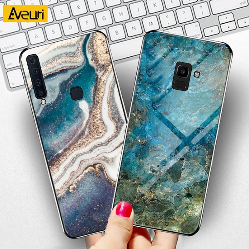Vidro de Mármore De luxo Caixa Do Telefone Para Samsung Galaxy A7 A5 2017 A520 J4 J6 A6 A8 Plus A7 A9 2018 M10 M20 M30 M30S Tampa Caso Coque