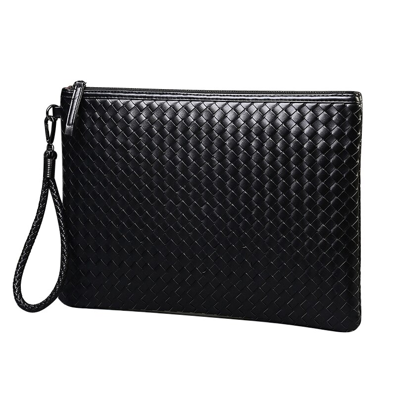 ZZSLHL Brands Men Bag Leather Weave Knitting Clutch Bag Shoulder Bag Wallet Handy Bag Handbags Day C