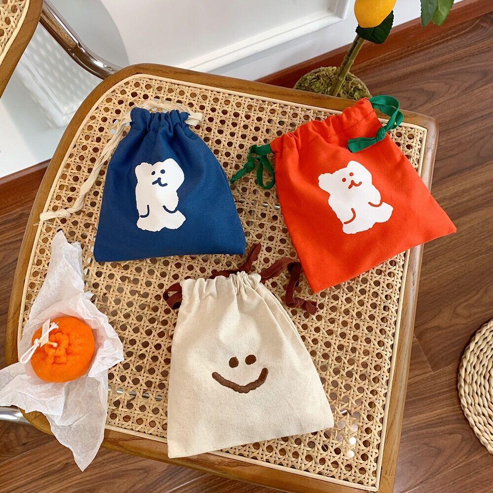 Bentoy Milkjoy Corea sonrisa perro oso bolsas de cuerda lindo casa bolsa de almacenamiento chicas caso cosmético de lavado bolsas porta