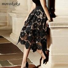 Hot Fashion Lace Womens Skirt Sexy Midi Skirt Women Summer Black Skirt Woman 2019 Elegant Hollow Ballroom Dance Skirts Women