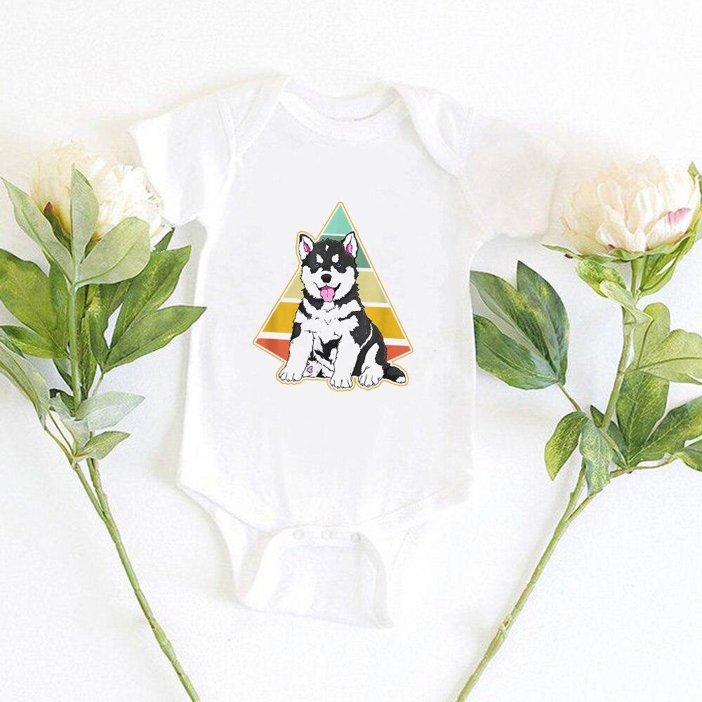Милое забавное боди с принтом Хаски для маленьких мальчиков Модное Новое поступление одежда для маленьких мальчиков Мягкая тонкая детская ...