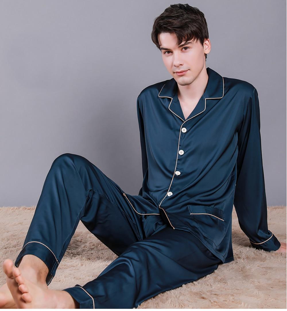 Men Summer Ice Silk Sleepwear Thin Breathable Pajama Sets Noble Solid Color Silk Pajamas Comfort Satin Pajama Male Casual Pijama