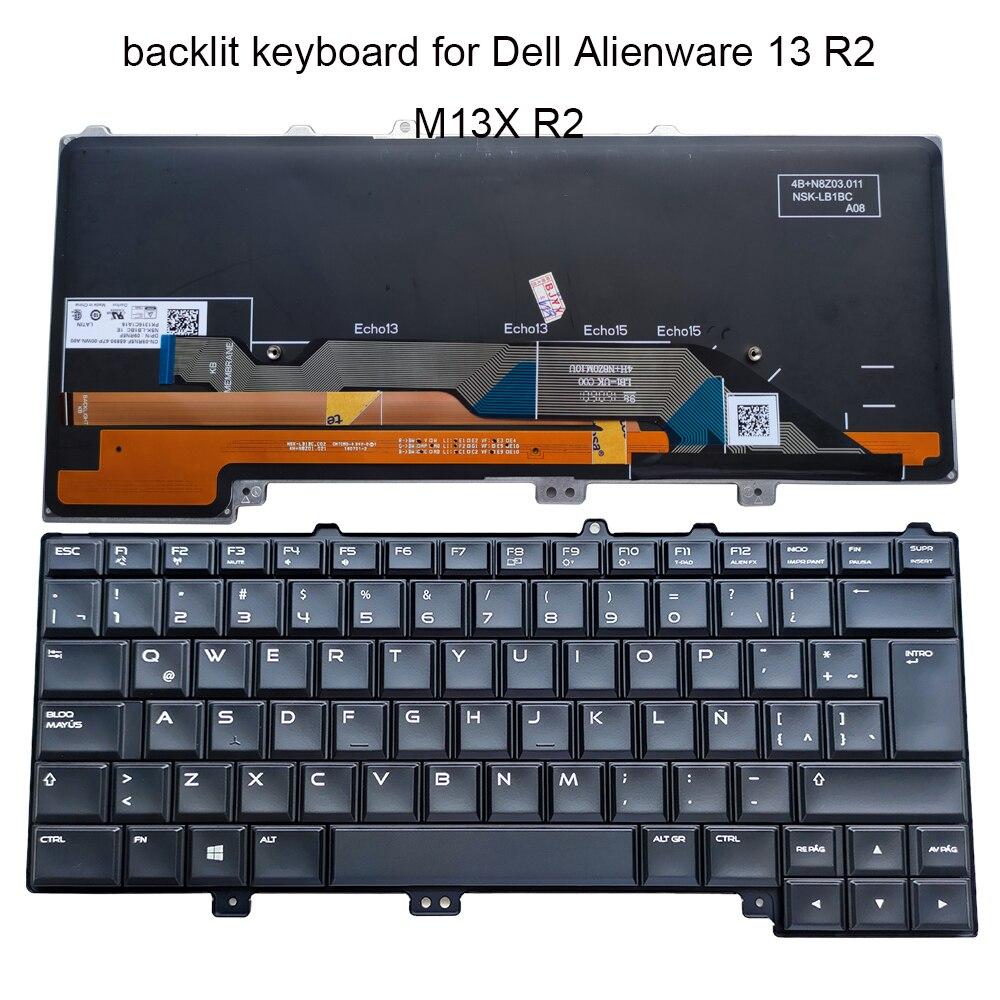 اللاتينية لابتوب إضاءة خلفية لوحة مفاتيح Dell إليانوير 13 15 R1 R2 R3 R4 M13X R2 M15X 09RN5F 9RN5F LA استبدال لوحات المفاتيح NSK-LB1BC