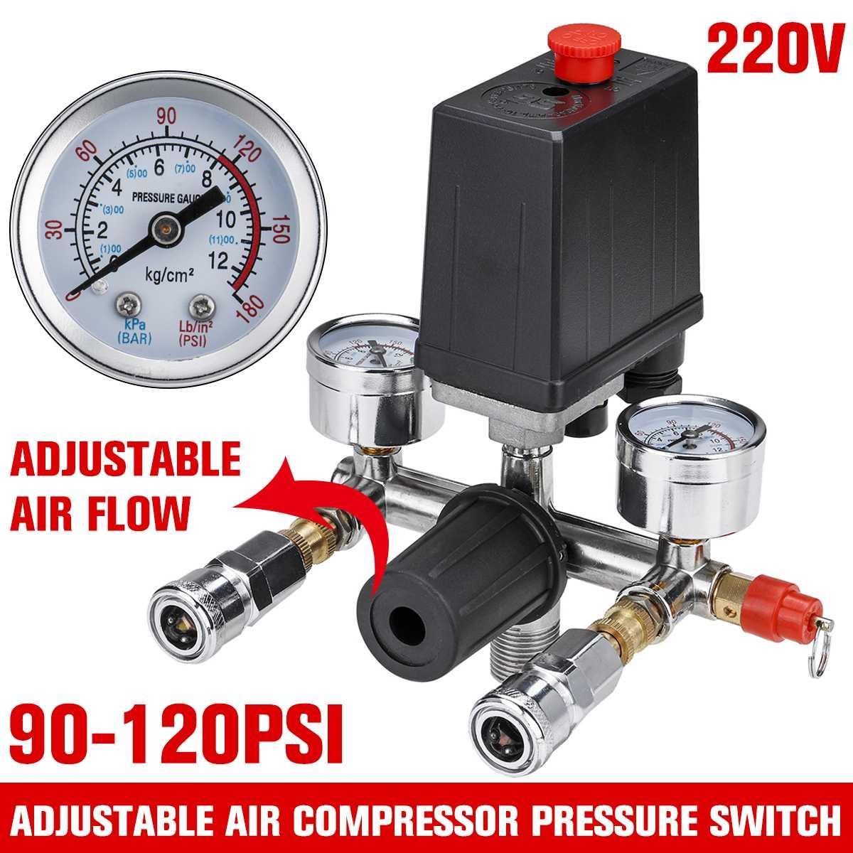 Interruptor de válvula de presión de la bomba del compresor de aire de 220V regulador de alivio del colector de flujo de aire ajustable Válvula de Control 90-120 PSI con manómetro