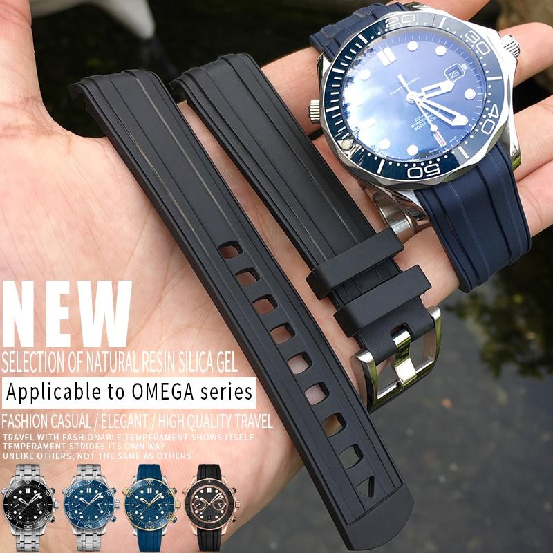 Pulseira de Relógio Substituição para Omega Seamaster Curvo Final Fluorous Borracha Silicone Pulseira Aço Inoxidável Fivela 20mm 19mm 300