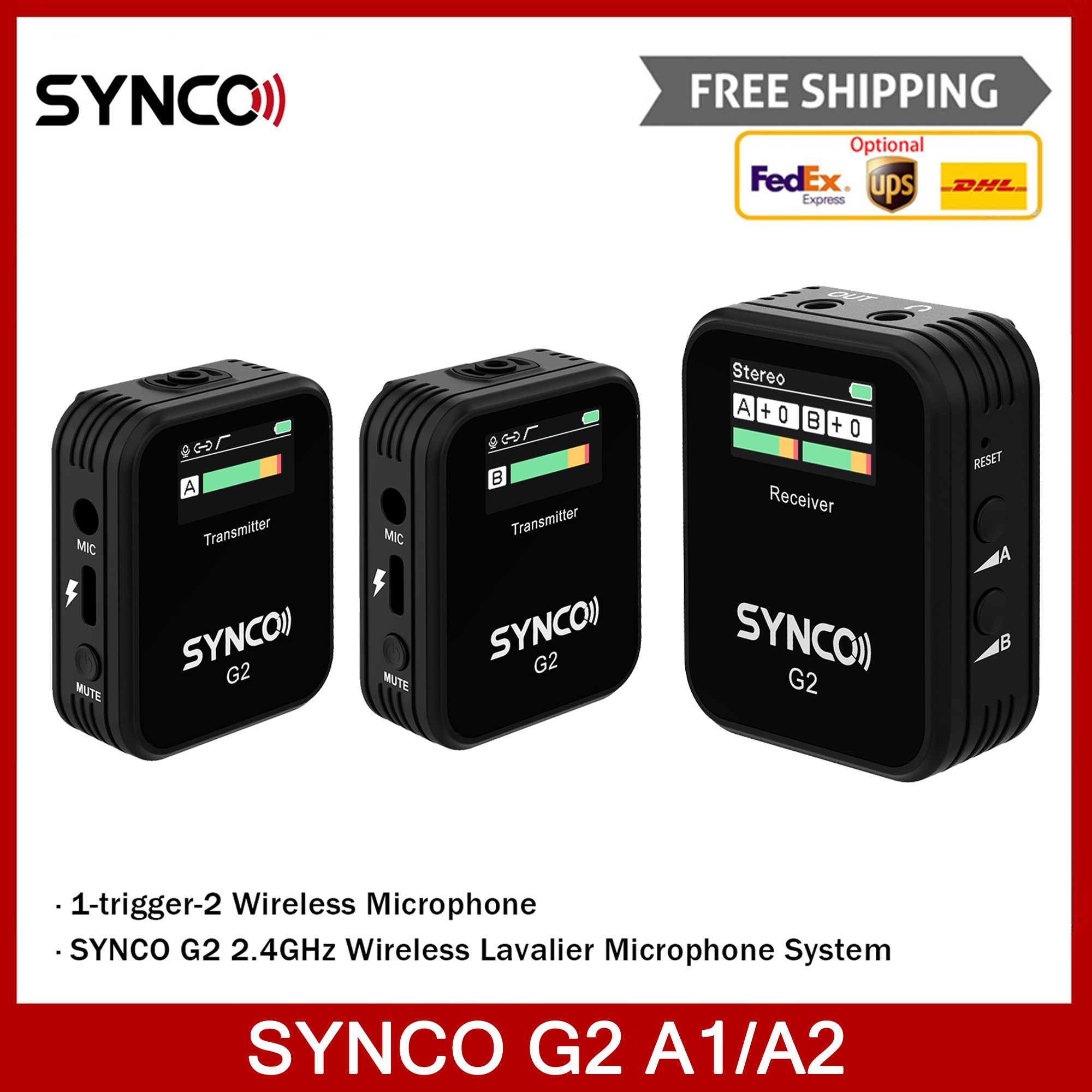SYNCO G2 A1/A2 مكثف ميكروفون نظام ميكروفون لاسلكي Lavalier للهواتف الذكية DSLR كاميرا مراقبة الوقت الحقيقي انتقال 70 متر