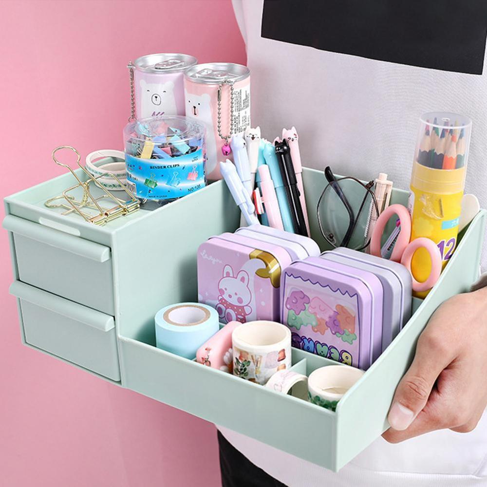 Caja creativa multifunción para almacenamiento de desechos de escritorio, caja bonita para cajón de escritorio, accesorios Kawaii, bolígrafo organizador S9V1