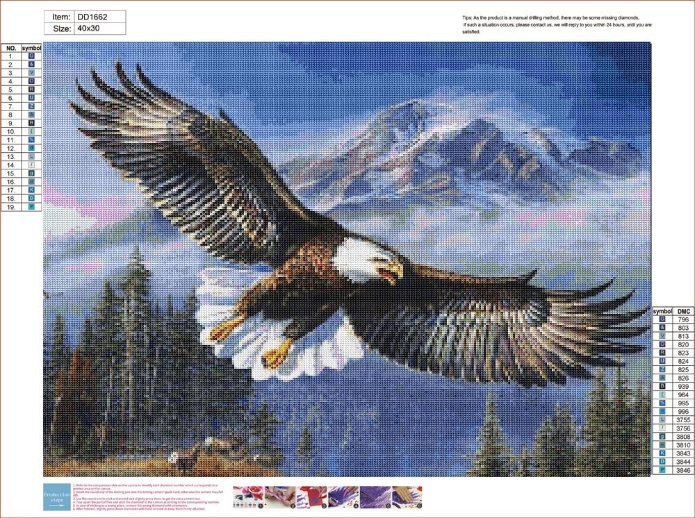 Eagle 5D DIY diamond paint Cartoon Diamond Embroidery Animal Craft Cross Stitch Christmas Home Decor