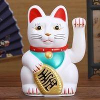 Китайский фэн-шуй, манящий кошку, богатство, белая, размахивающая удача/счастливая кошка, 6 дюймов H, золото, серебро, лучший подарок на удачу, ...