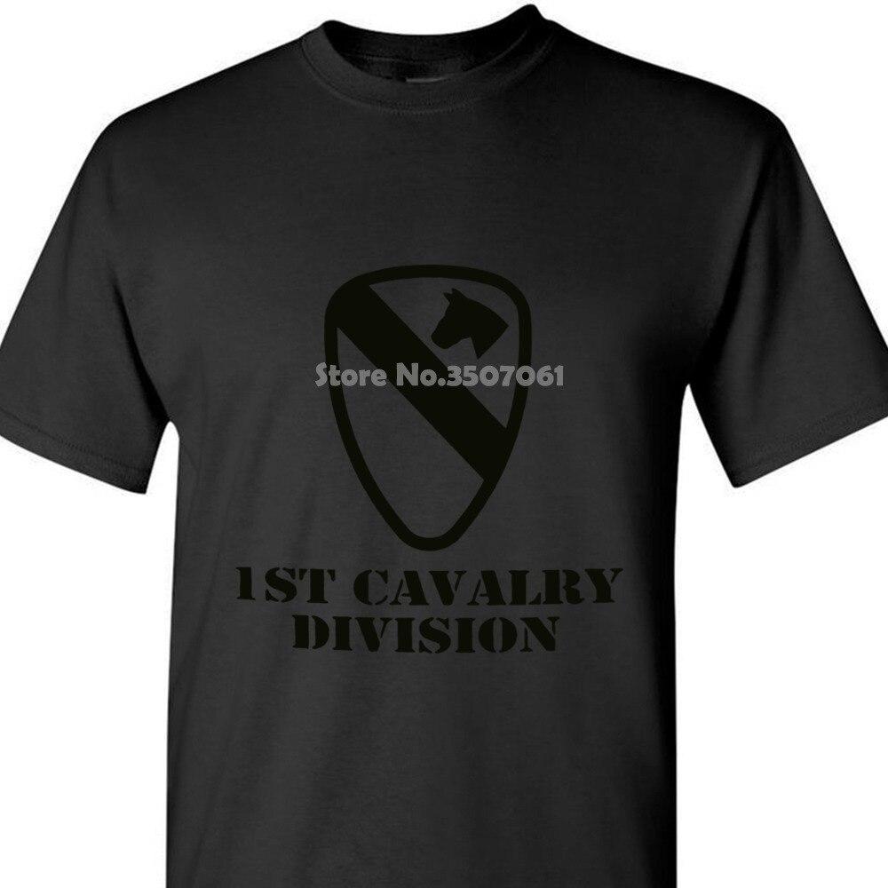 Camisa de t do veterano do exército da divisão da cavalaria do preço barato do tshirt dos homens redondos imprimidos