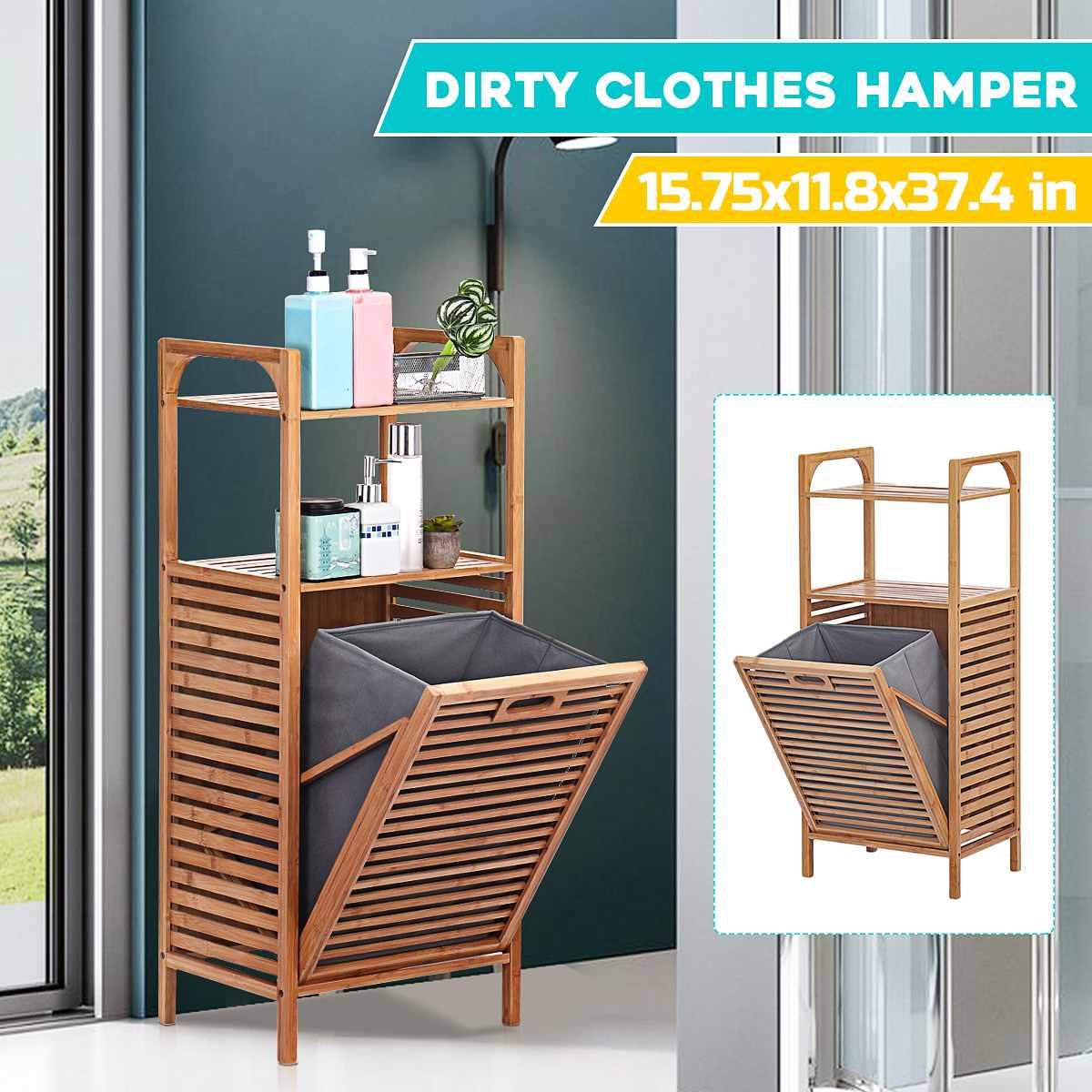 متعددة الوظائف الحمام يعيق الملابس القذرة Cothes تخزين سلة الغسيل القذرة المنظم رف حمام إطار الغسيل الخيزران