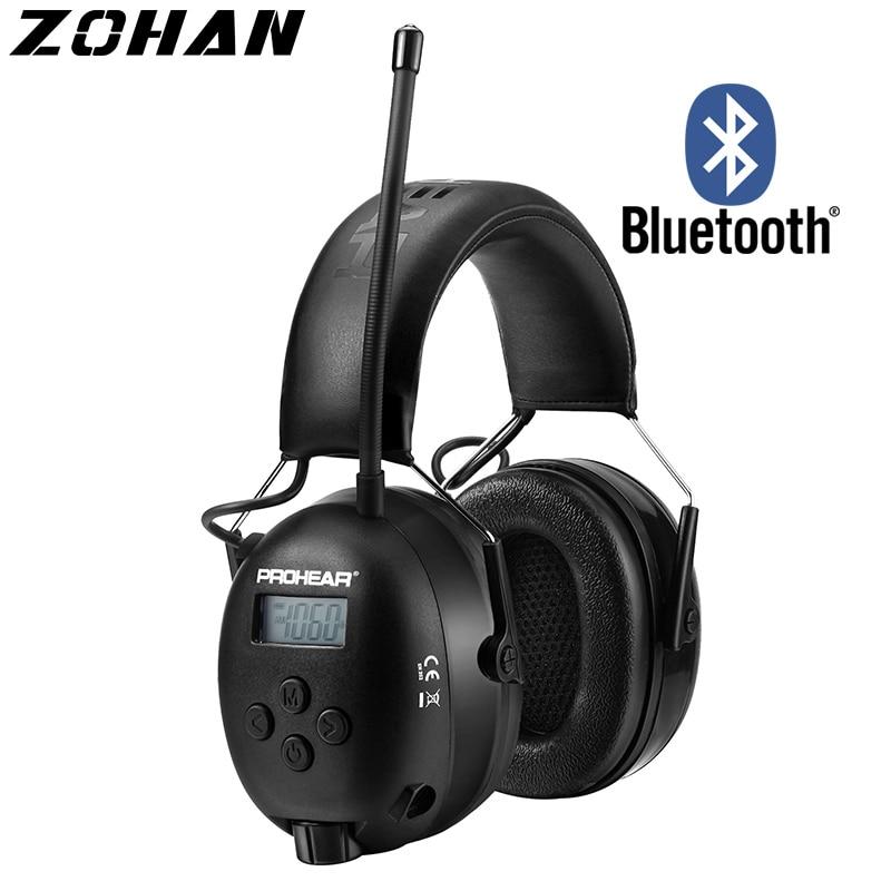 Шумоподавляющие наушники ZOHAN, наушники с AM/FM-радио, наушники с защитой ушей, Bluetooth 5,0, наушники для безопасности, для защиты от косания, газона,...
