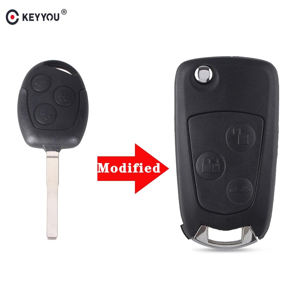 KEYYOU 3 кнопки модифицированный складной дистанционный чехол для ключей для Ford Focus Fiesta Fusion C-Max для mondeo Galaxy C-Max S-Max