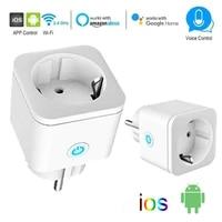WiFi EU Smart Plug 16A Adapter Socket Wireless Remote Voice Control Power Monitor Timer Socket For Google Home Alexa AC 110 240V