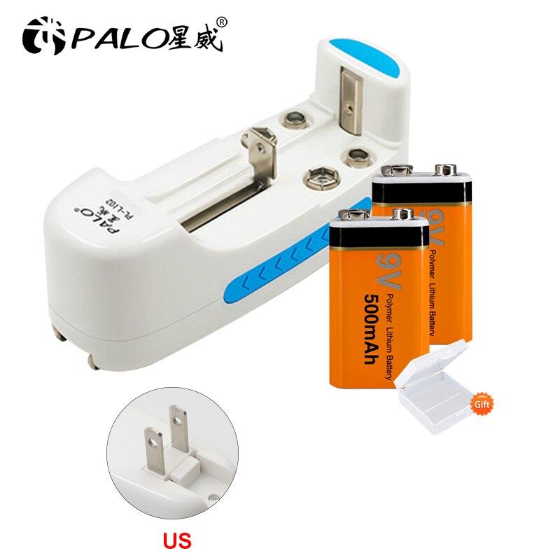 PALO-cargador de batería multifuncional, para 18650, 17650, 16500, 14500, 9V, 6F22, para NI-CD NI-MH, pilas AA/AAA recargables + 2 uds, 9v