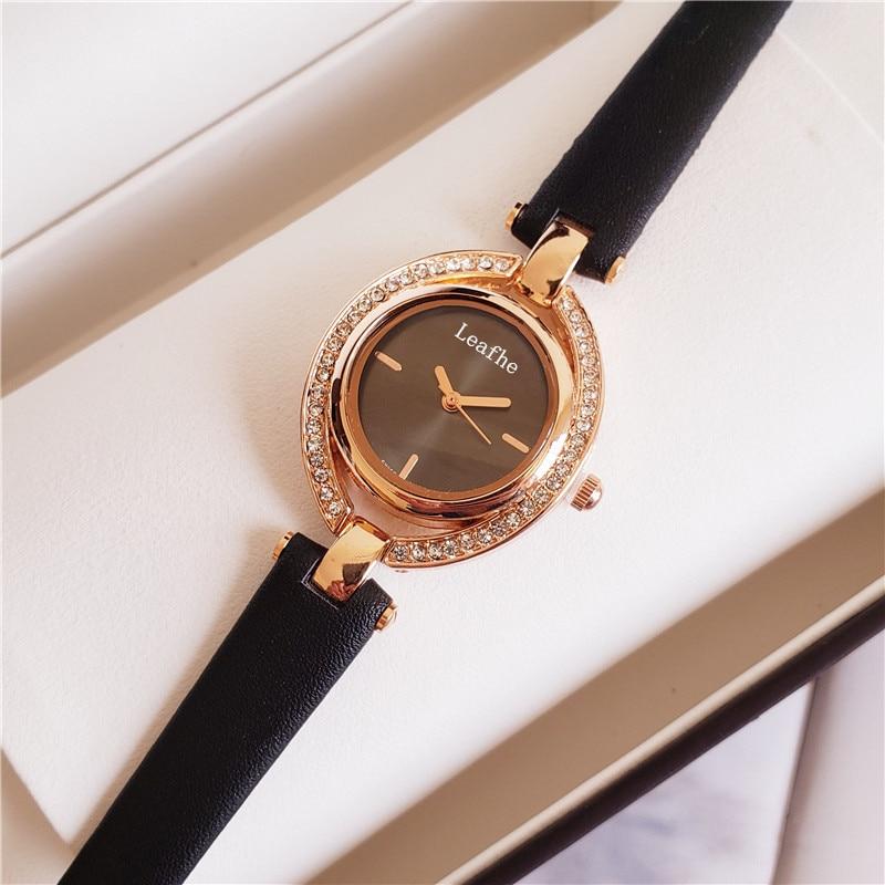Fashion Diamond Women's Watches Leather Strap Stainless Steel Dial Quartz Watch Black Clock Girl Ladies Favorite enlarge