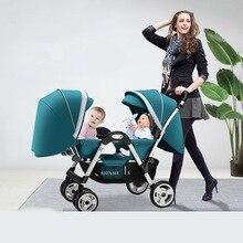 Twin bébé poussette quatre roues amortisseur bébé peut sasseoir inclinable multi-range réglage Double poussette pliable Dolly chariots