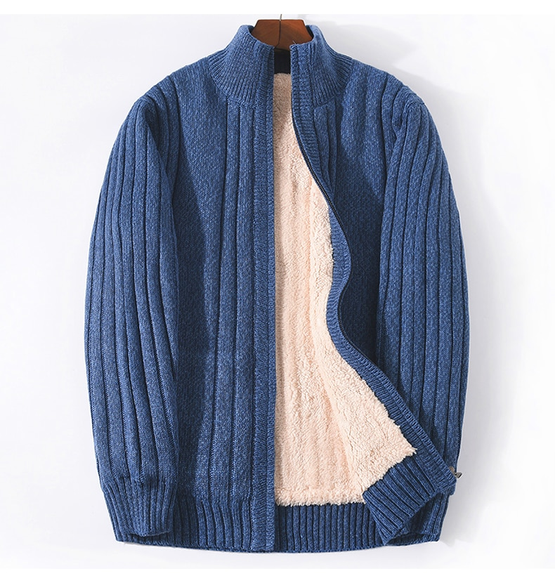 Plus Size M-6XL 7XL Winter Sweater Male Lamb Cashmere Knitted Black Cotton Polyester Thicken Warm Cardigan Men  Clothing