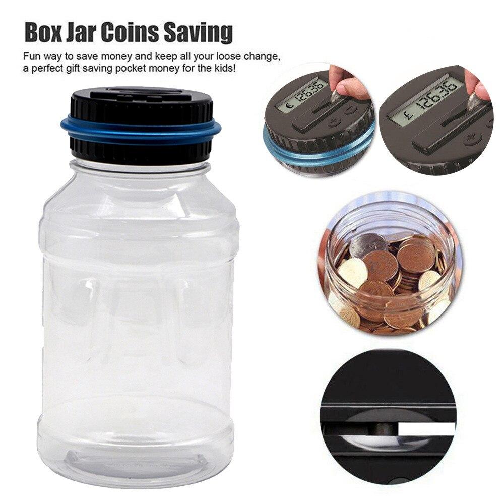 Money Saving Jar Clear Digital Piggy Bank Coin Savings Counter Lcd Counting Money Jar Change Gift Children Kids#dg4