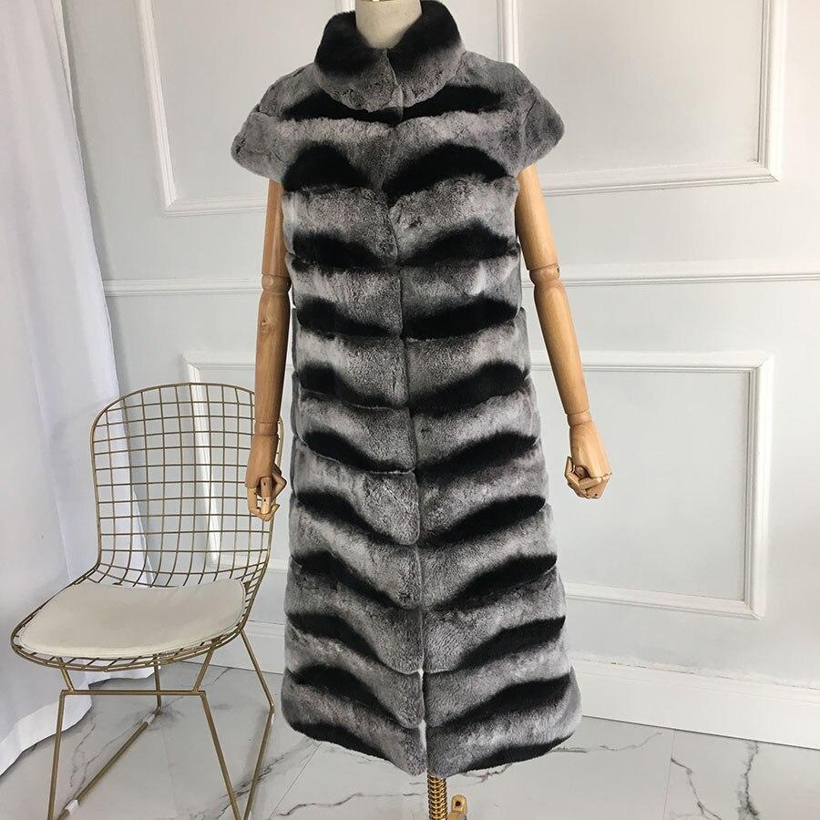 Longitud Extra real Chaleco de piel natural de piel de conejo rex sin mangas de la chaqueta de piel de conejo genuino invierno color Chinchilla