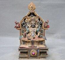 زفاف الديكور القديم التبت البوذية البرونزية رسمت نيبال الأصفر جامبالا الثروة الله بوذا تمثال