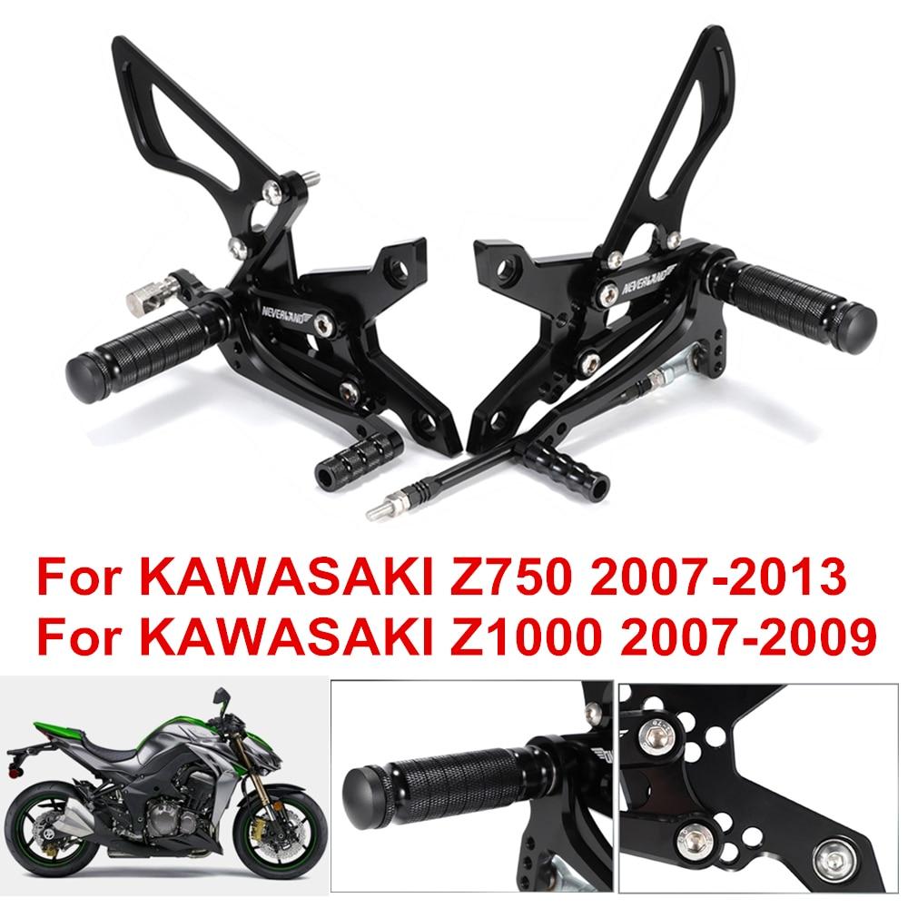 AliExpress - Adjustable Aluminum Alloy CNC Motorcycle Footrests Rear Set Foot Pegs Footrests For KAWASAKI Z750 2007-2013 Z1000 2007-2009 D30