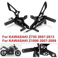 Adjustable Aluminum Alloy CNC Motorcycle Footrests Rear Set Foot Pegs Footrests For KAWASAKI Z750 2007-2013 Z1000 2007-2009 D30