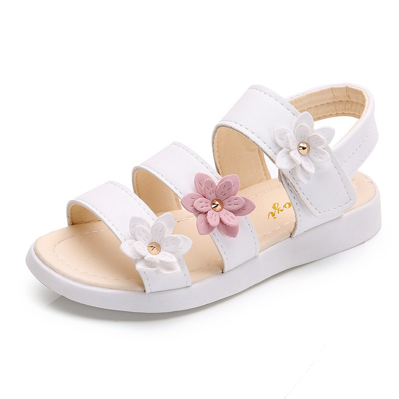 Girls Sandals Gladiator Flowers Sweet Soft Children's Beach Shoes Kids Summer Floral Sandals Princes