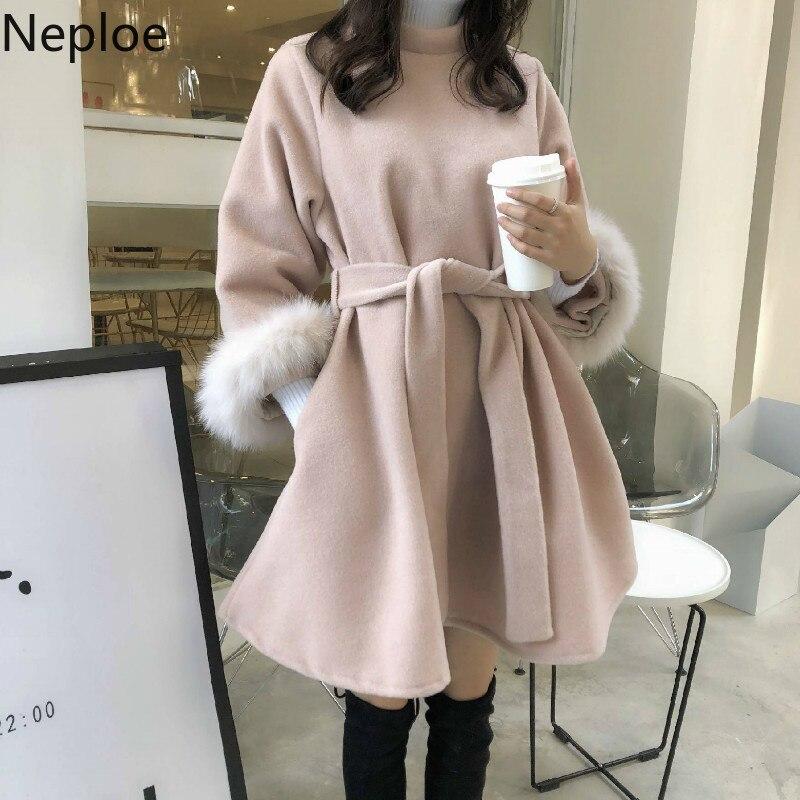Neploe, Vestido de lana, Otoño Invierno, nuevo, coreano, Vintage, elegante, Vestido de temperamento, cintura delgada, encaje, una línea, cuerda rosa, Mujer 46307