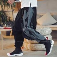 Pantalon sarouel a jambes larges pour Homme  Style japonais  Harajuku  chinois  Ukiyo-e Crane  bas samourai Haori  vetements asiatiques