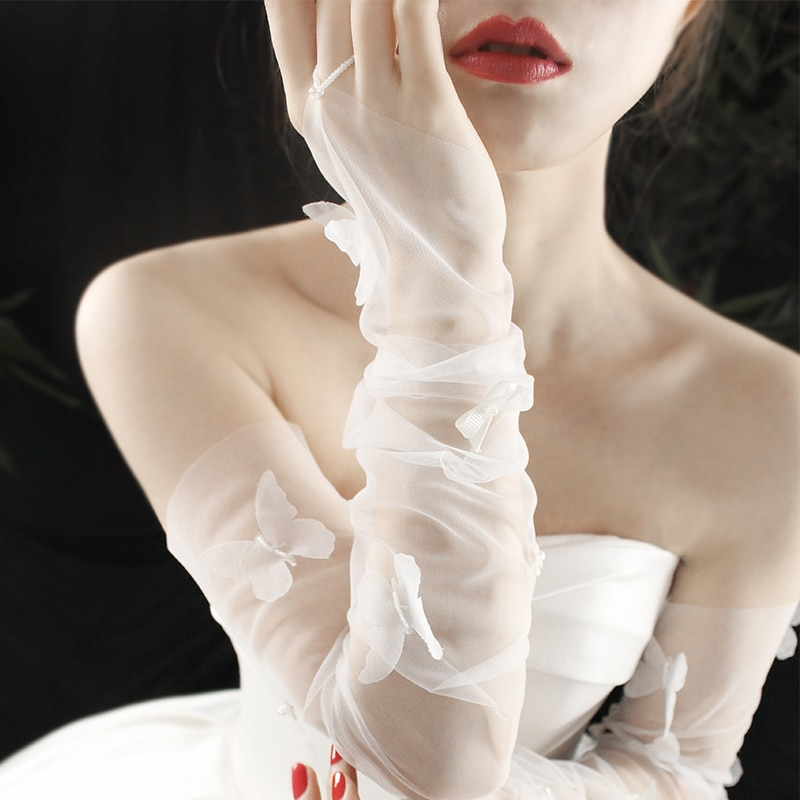 Fingerless Women's Tulle Sheer Gloves White Butterfly Bride Wedding Gloves Long Gants Mariage Gloves Lace Party Dress Glove
