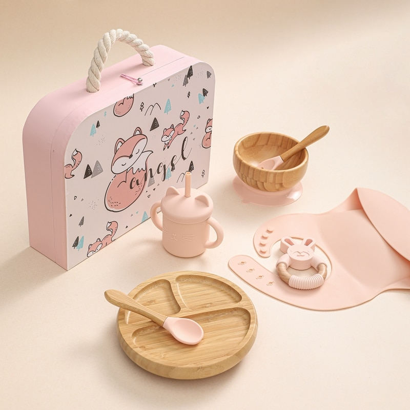 1Set Silicone Baby Feeding Bowl Wooden Dinner Plate Bib Waterproof Fork Spoon Learn To Drink Cup Pacifier Nipple Plate Gift Box
