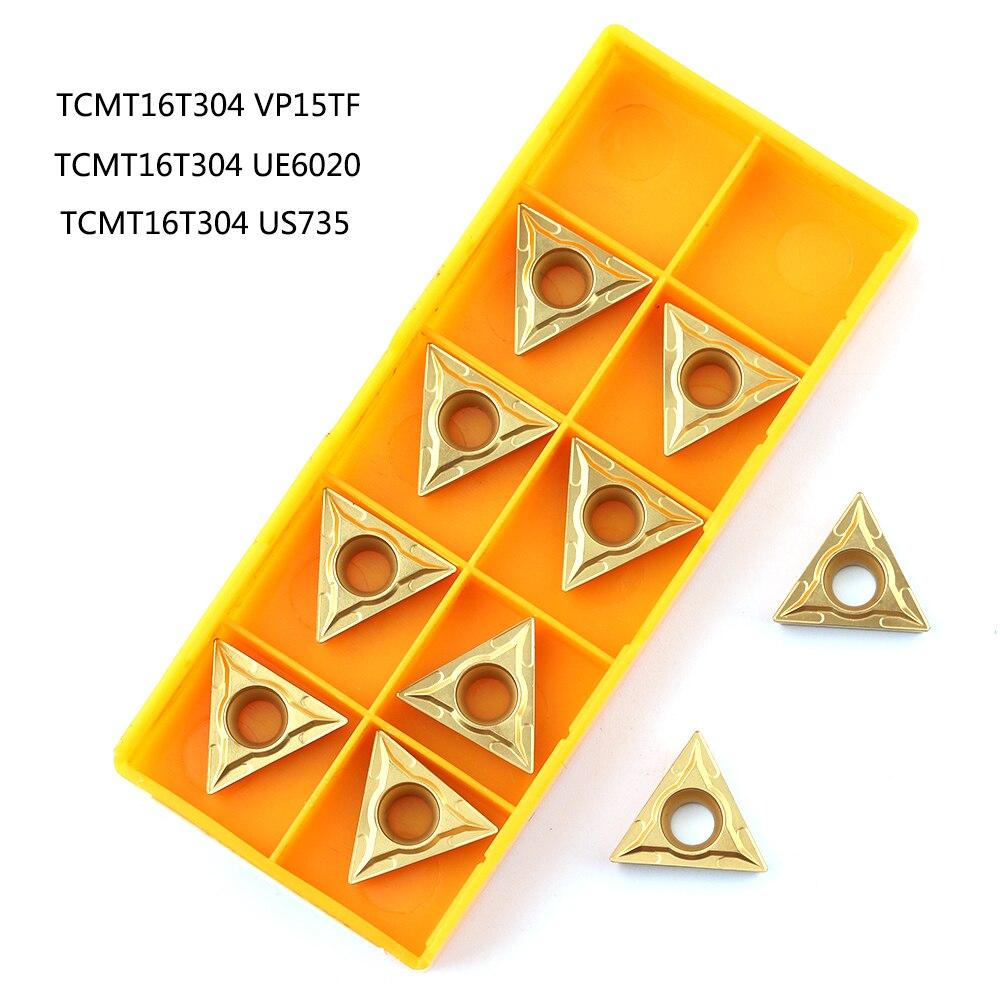 10 Uds TCMT16T304 VP15TF UE6020 hoja de carburo herramienta de torneado de metal Herramientas de Torneado cnc puede ser indexado plaquita TCMT 16T304 de herramienta de corte