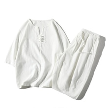 Tenue Tang à manches 3/4, tenue de Style chinois traditionnel ample et respirant, haut + pantalon Hanfu, ensemble Costume Oriental