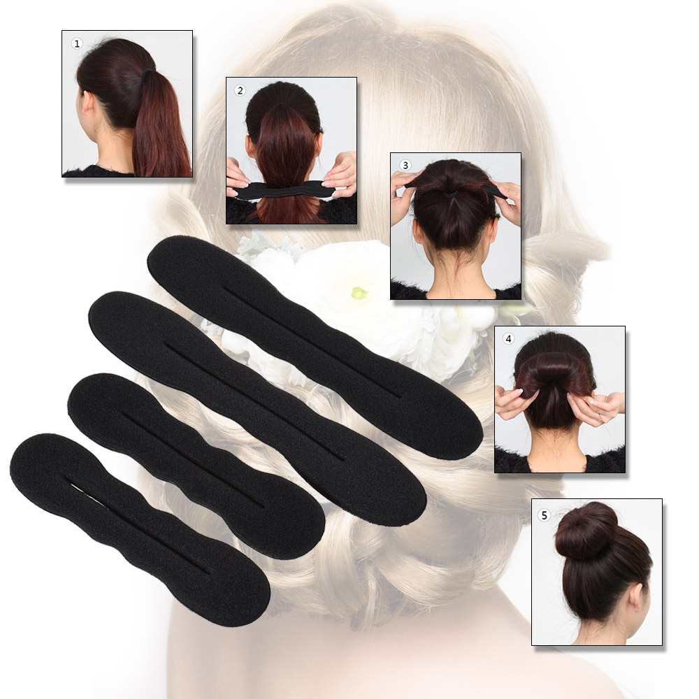 4 sztuk/zestaw dziewczyny kobiety Hair Twister stylizacja Bun narzędzie do robienia na gąbki Roller Hairdos klips do włosów 2 duże i 2 małe profesjonalne