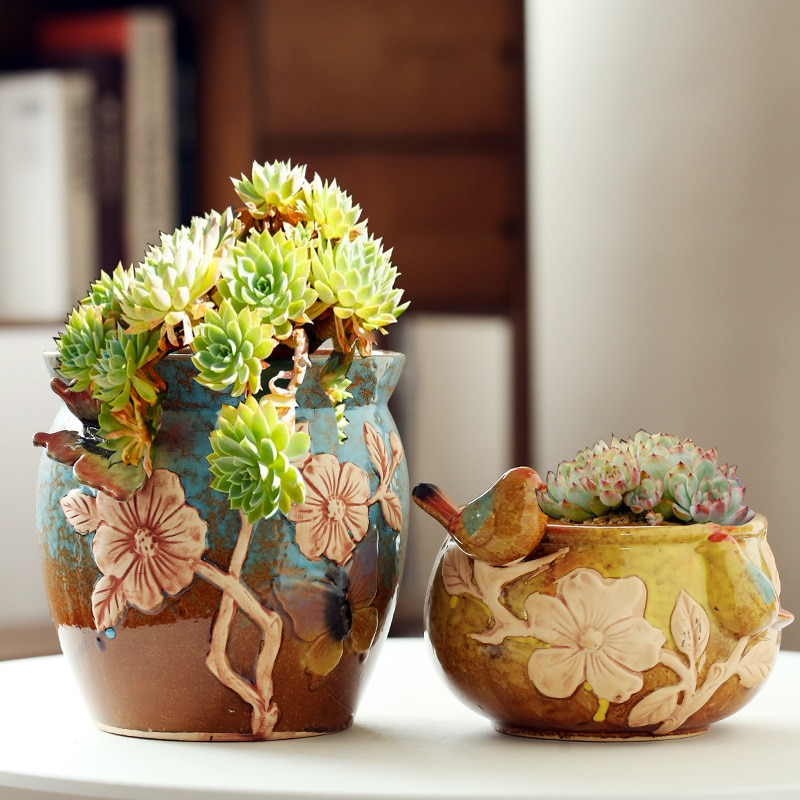 Creative Ceramic Flowerpot Succulents Planter Water Planting Container Bonsai Desktop Potted Holder